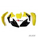 RACETECH Plastic Kit OEM RMZ450 08-17 OEM  - Front Fender Yellow - Rear Fender Yellow - Radiator Scoops Yellow/Black - Side Panels Black - Front number plate Yellow