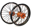 DIJCK Wheelset KTM SX/SXF 15-20 17x3.50 / 17x5.00 Black Rim, Orange Hub, Black Spokes, Orange Nipples